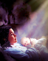 """Virgin Mary and newborn Jesus in Bethlehem - Painting by Dino Carbetta""…<br />