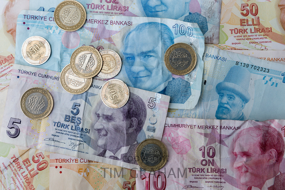Turkish lira - Turk Lirasi - local currency coins and banknotes, featuring image of Ataturk, in Republic of Turkey