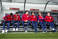 Marcus Rashford, Jesse Lingard, Michael Keane, John Stones, Eric Dier and Jordan Pickford during a tour of the stadium before an England press conference ahead of the football match between National teams of Slovenia and England in Round #3 of FIFA World Cup Russia 2018 Qualifier Group F, on October 10, 2016 in SRC Stozice, Ljubljana, Slovenia. Photo by Morgan Kristan / Sportida