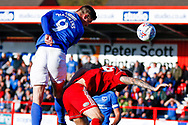 Portsmouth forward Oliver Hawkins (9) heads towards goal  during the EFL Sky Bet League 1 match between Accrington Stanley and Portsmouth at the Fraser Eagle Stadium, Accrington, England on 27 October 2018.