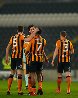 Hull City's Mallik Wilks celebrates with Jacob Greaves and Reece Burke after he scores his side's first goal  in the 24th minute <br /> <br /> Photographer Lee Parker/CameraSport<br /> <br /> The EFL Sky Bet League One - Hull City v Rochdale - Tuesday 2nd March 2021 - KCOM Stadium - Kingston upon Hull<br /> <br /> World Copyright © 2021 CameraSport. All rights reserved. 43 Linden Ave. Countesthorpe. Leicester. England. LE8 5PG - Tel: +44 (0) 116 277 4147 - admin@camerasport.com - www.camerasport.com