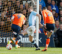 Blackpool's Clark Robertson throws himself in front of an effort from Luton Town's Isaac Vassell<br /> <br /> Photographer David Shipman/CameraSport<br /> <br /> The EFL Sky Bet League Two - Luton Town v Blackpool - Saturday 1st April 2017 - Kenilworth Road - Luton<br /> <br /> World Copyright © 2017 CameraSport. All rights reserved. 43 Linden Ave. Countesthorpe. Leicester. England. LE8 5PG - Tel: +44 (0) 116 277 4147 - admin@camerasport.com - www.camerasport.com