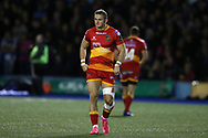 Hallam Amos of the Dragons. Guinness Pro14 rugby match, Cardiff Blues v Dragons at the Cardiff Arms Park in Cardiff, South Wales on Friday 6th October 2017.<br /> pic by Andrew Orchard, Andrew Orchard sports photography.