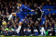 Eden Hazard of Chelsea (L)  in action with Wilfred Ndidi of Leicester City (R). Premier League match, Chelsea v Leicester City at Stamford Bridge in London on Saturday 13th January 2018.<br /> pic by Steffan Bowen, Andrew Orchard sports photography.