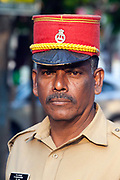 An Indian policeman wearing the French style Kepi hat, Pondicherry, India. Pondicherry now Puducherry is a Union Territory of India and was a French territory until 1954 legally on 16 August 1962.