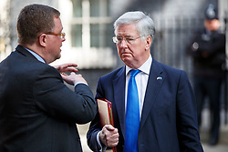 © Licensed to London News Pictures. 10/05/2017. London, UK. Defence Secretary MICHAEL FALLON leaves Downing Street, London after a meeting with Nato Secretary General Jens Stoltenberg on Wednesday, 10 May 2017. Photo credit: Tolga Akmen/LNP
