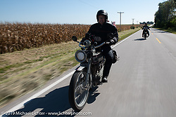 Dave Currier rode his 1915 Harley-Davidson model F with Milwaukee Tools behind him as a sponsor, in the Motorcycle Cannonball coast to coast vintage run. Stage 6 (260 miles) from Bourbonnais, IL to Cedar Rapids, IA. Thursday September 13, 2018. Photography ©2018 Michael Lichter.