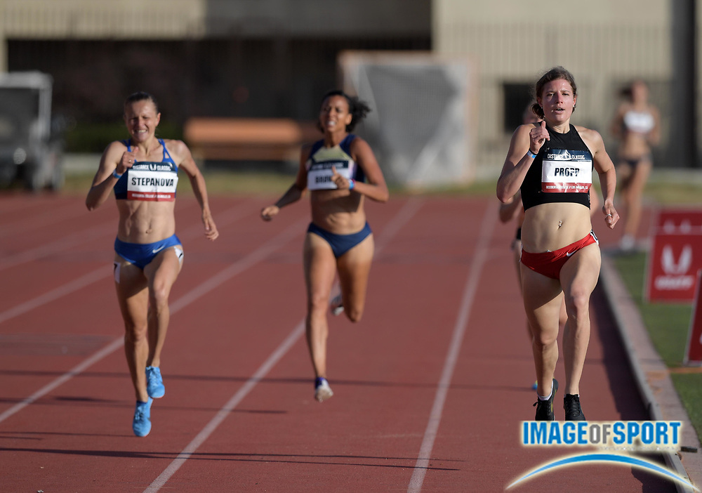 May 17, 2018; Los Angeles, CA, USA; Adrea Propp wins women's 800m heat in 2:04.16 during the USATF Distance Classic at Occidental College.
