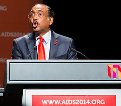 © Licensed to London News Pictures. 20/07/2014. Executive Director of UNAIDS Michel Sidibé speaks during the official opening ceremony of the 20th International AIDS conference held in Melbourne Australia on July 20, 2014. This conference takes place a few days after the death of a number of high profile delegates and researchers due to attend whom flew on Malaysian Airlines flight MH17. Photo credit : Asanka Brendon Ratnayake/LNP