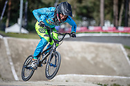 during practice at Round 5 of the 2018 UCI BMX Superscross World Cup in Zolder, Belgium