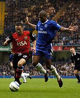 Photo: Javier Garcia/Digitalsport<br /> 23/10/2004 Chelsea v Blackburn, FA Barclays Premiership, Stamford Bridge<br /> Glen Johnson jumps out of the way of a foraging Paul Dickov