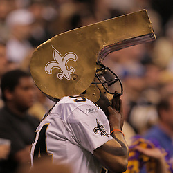 2008 October, 06: A New Orleans Saints fan during a week five regular season game between the Minnesota Vikings and the New Orleans Saints for Monday Night Football at the Louisiana Superdome in New Orleans, LA.