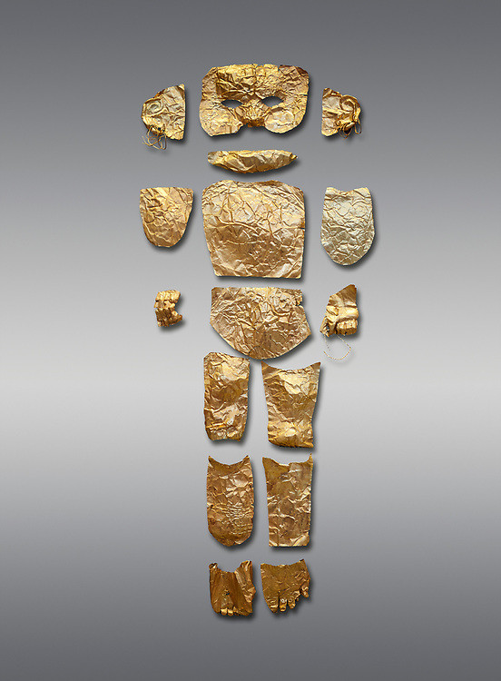 Body shaped Mycenaean gold cut outs from Grave III, 'Grave of a Women', Grave Circle A, Myenae, Greece. National Archaeological Museum Athens. Grey Background<br /> <br /> Cat No 146. 16th century BC.<br /> <br /> A unique gold body covering and face of an infant child mad out of pieces of gold foll<br /> <br /> Shaft Grave III, the so-called 'Grave of the Women,' contained three female and two infant interments. The women were literally covered in gold jewelry and wore massive gold diadems, while the infants were overlaid with gold foil. .<br /> <br /> If you prefer to buy from our ALAMY PHOTO LIBRARY  Collection visit : https://www.alamy.com/portfolio/paul-williams-funkystock/mycenaean-art-artefacts.html . Type -   Athens    - into the LOWER SEARCH WITHIN GALLERY box. Refine search by adding background colour, place, museum etc<br /> <br /> Visit our MYCENAEN ART PHOTO COLLECTIONS for more photos to download  as wall art prints https://funkystock.photoshelter.com/gallery-collection/Pictures-Images-of-Ancient-Mycenaean-Art-Artefacts-Archaeology-Sites/C0000xRC5WLQcbhQ
