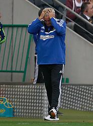Hull City Manager,Steve Bruce reacts to the sending off  - Photo mandatory by-line: Matt Bunn/JMP - Tel: Mobile: 07966 386802 24/08/2013 - SPORT - FOOTBALL - KC Stadium - Hull -  Hull City V Norwich City - Barclays Premier League