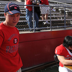 Apr 18, 2009; Piscataway, NJ, USA; Former Rutgers placekicker Jeremy Ito (left) visits with current placekicker San San Te (1, right) during the fan festival following Rutgers' Scarlet and White spring football scrimmage.