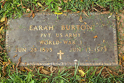 31 August 2017:   Veterans graves in Park Hill Cemetery in eastern McLean County.<br /> <br /> Earah Burton Private US Army World War I Jun 23 1895 June 13 1975