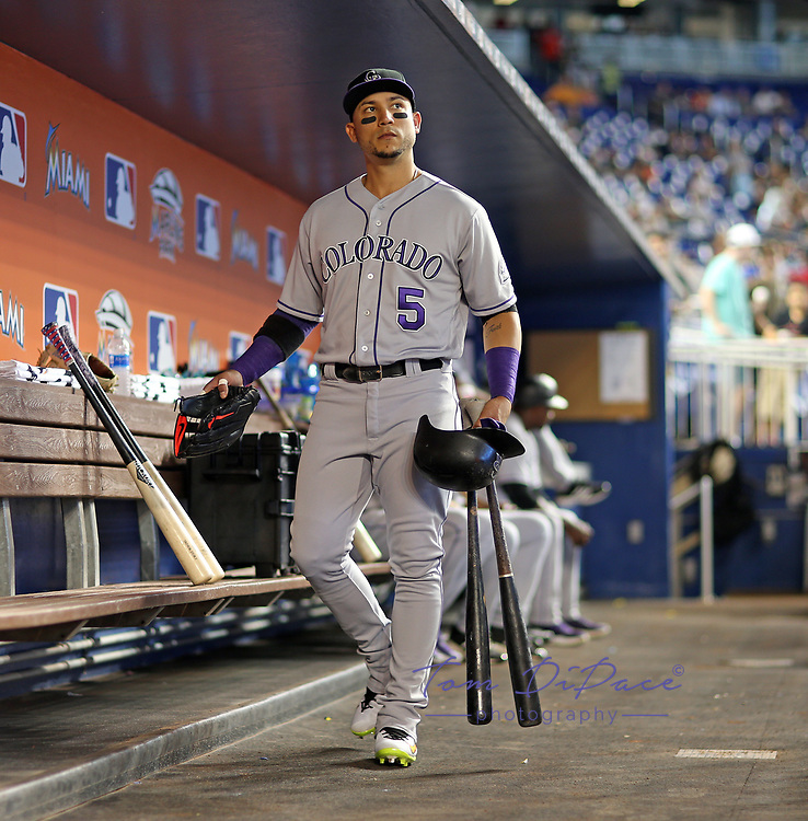 Carlos Gonzalez during a MLB game between the Colorado Rockies and the Miami Marlins at Hard Rock Stadium , in Miami ,FL on 8.11.17.<br /> ( Photo/Tom DiPace)