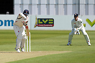 Ashwell Prince plays a block shot during the LV County Championship Div 2 match between Gloucestershire County Cricket Club and Lancashire County Cricket Club at the Bristol County Ground, Bristol, United Kingdom on 7 June 2015. Photo by Alan Franklin.