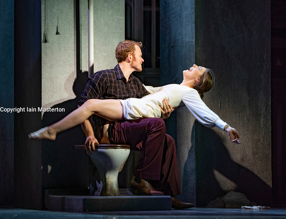 Edinburgh, Scotland, UK. 20 August 2019. Edinburgh International Festival. 'Breaking the Waves' by Scottish opera. The European premiere of an opera from US composer Missy Mazzoli and Royce Vavrek adapted from Lars von Trier's controversial film at the King's Theatre. Conductor is Stuart Stratford, and Director is Tom Morris. Sydney Mancasola is Bess McNeill, and Duncan Rock is Jan Nyman. Iain Masterton/Alamy Live News.<br /> Edinburgh, Scotland, UK. 20 August 2019. Edinburgh International Festival. 'Breaking the Waves' by Scottish Opera. The European premiere of an opera from US composer Missy Mazzoli and Royce Vavrek adapted from Lars von Trier's controversial film at the King's Theatre. Conductor is Stuart Stratford, and Director is Tom Morris. Sydney Mancasola is Bess McNeill, and Duncan Rock is Jan Nyman. Iain Masterton/Alamy Live News.<br /> Edinburgh, Scotland, UK. 20 August 2019. Edinburgh International Festival. 'Breaking the Waves' by Scottish Opera. The European premiere of an opera from US composer Missy Mazzoli and Royce Vavrek adapted from Lars von Trier's controversial film at the King's Theatre. Conductor is Stuart Stratford, and Director is Tom Morris. Sydney Mancasola is Bess McNeill, and Duncan Rock is Jan Nyman. Iain Masterton/Alamy Live News.