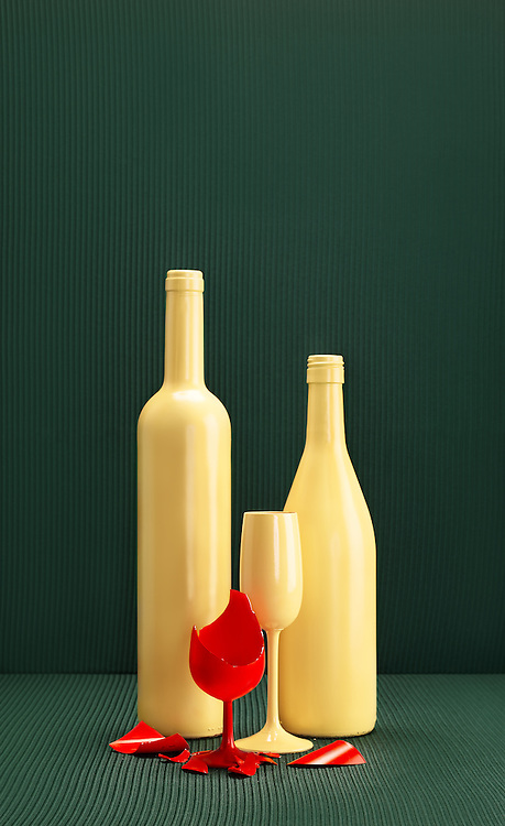 In his series 'In Relation', human relationships to one another play an important role. <br /> <br /> 'In Relation' is a series of still lives inspired by contemporary family pictures and old family portraits and still lives from the old masters. <br /> By the photo format and alignment of the bottles and glasses, these are getting something human. He is giving power to the pictures by letting the colors contrast to each other or just letting them cancel each other out, creating a poignant rest in the picture. <br /> <br /> Ron wants to show another side of families. He makes hidden damages within the families visible. The glass is a metaphor for the vulnerability and gives the picture his static stilled character.<br /> <br /> These series is represented by ART gogo Shanghai and SBK Amsterdam and you can contact Ron for ordering the print on Canson fine art paper mount on 3 mm dibond in edition of 5.