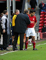 Photo: Dave Linney.<br />Walsall v Yeovil Town. The FA Cup. 03/12/2005.<br />Paul Merson(Walsall Mgr) give advice to Walsall striker  Jorge Leitao