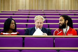 © Licensed to London News Pictures. 14/03/2016. London, UK. Mayor of London Boris Johnson meets new apprentices whilst at Here East, the former press and broadcast centre in the Queen Elizabeth Olympic Park in London to kick start National Apprenticeship Week on Monday, 14 March 2016. Photo credit: Tolga Akmen/LNP