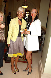 Left to right, MARIE JORDAN and BELINDA WILSON-PISKER at the CLIC Sargent's Yumy Mummy lunch held at The Lanesborough Hotel, Hyde Park Corner, London on 20th September 2005.<br />