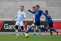 Anders Holst (FC Helsingør) og Markus Bay (Fremad Amager) under træningskampen mellem FC Helsingør og Fremad Amager den 18. januar 2020 på Helsingør Ny Stadion (Foto: Claus Birch)