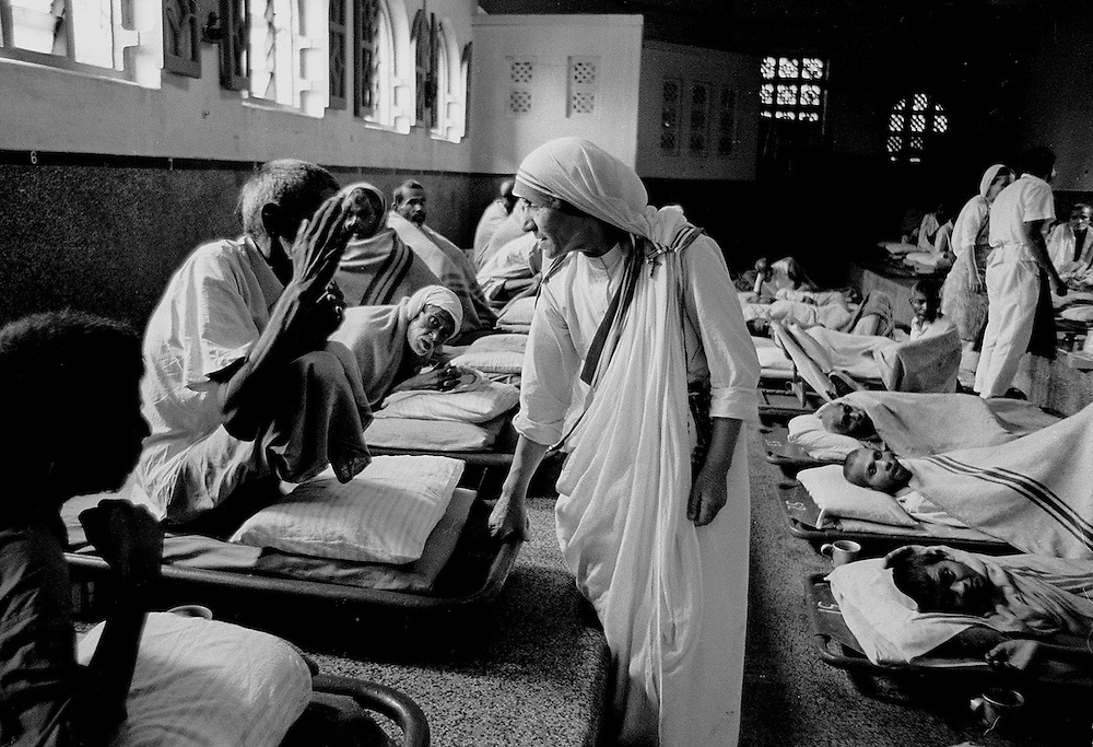 Mother Teresa of Calcutta seen at her home for the destitue and dying in Calcutta,India in 1969. Photographed by Terry Fincher