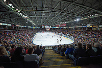 KELOWNA, CANADA - FEBRUARY 28: The Kelowna Rockets fill the arena against the Calgary Hitmen on February 28, 2015 at Prospera Place in Kelowna, British Columbia, Canada.  (Photo by Marissa Baecker/Shoot the Breeze)  *** Local Caption *** crowd; fans;