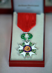 06 June 2014. The National WWII Museum, New Orleans, Lousiana. <br /> French Legion of Honor medal awaiting presentation.<br /> Photo; Charlie Varley/varleypix.com
