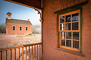 "Alonzo Russell adobe house (featured in the film ""Butch Cassidy and the Sundance Kid"") and schoolhouse, Grafton ghost town, Utah USA"