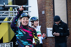 Number 1 - Barbara Guarischi shares her result with her arriving teammates at Omloop van Borsele 2016. A 139 km road race starting and finishing in 's-Heerenhoek, Netherlands on 23rd April 2016.