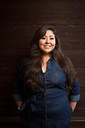 Melinda Chacon of Sonido Clash pose for a portrait in the SoFA neighborhood of San Jose, California, on July 8, 2015. (Stan Olszewski/SOSKIphoto for Content Magazine)