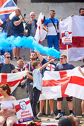 © Licensed to London News Pictures. 09/06/2018. LONDON, UK.  Protesters gather in Trafalgar Square ahead of a protest rally calling for the release of Tommy Robinson (aka Stephen Yaxley-Lennon) who was recently jailed for 13 months for contempt of court.   Photo credit: Cliff Hide/LNP