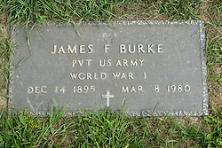 31 August 2017:   Veterans graves in Park Hill Cemetery in eastern McLean County.<br /> <br /> James F Burke  Private US Army  World War I  Dec 14 1895  Mar 8 1980