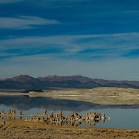 """Calcium carbonate """"tufa towers"""" created by underwater springs line the shore of saline Mono Lake in the eastern Sierra Nevada of Mono County, California."""