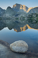 Sunrise on Deep Lake and Temple Peak, Bridger Wilderness in the Wind River Range of the Wyoming Rocky Mountains