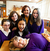 12/11/2018 Repro free: Galway Science and Technology Festival, the largest science event in Ireland, runs from 11-25 November featuring exciting talks, workshops and special events. Full programme at GalwayScience.ie. Braving a tarantula Wiktoria Szejna from Our  Lady's College Galway with Caitlin Sills , Martyna Laskiewicz, Amoy Meng and Dominika Szen looking on with Anne Casserly, manager Science and Technology Festival. . Photo:Andrew Downes, Xposure.