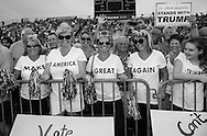 Aug. 21. 2015 Mobile, AL, Trump supporters at his campaign pep rally in Ladd Peebles Stadium. These women are all party of the Republican Party and plan to vote for Trump. <br /> Over 20 thousand came to the Ladd-Peebles Stadium to attend Trumps campaign pep rally. 40,000 were expected to come.