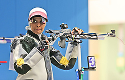 05.09.2015, Olympia Schiessanlage Hochbrueck, Muenchen, GER, ISSF World Cup 2015, Gewehr, Pistole, Damen, 10 Meter Luftgewehr, im Bild Elaheh Ahmadi (IRI) // during the women's 10M air rifle competition of the 2015 ISSF World Cup at the Olympia Schiessanlage Hochbrueck in Muenchen, Germany on 2015/09/05. EXPA Pictures © 2015, PhotoCredit: EXPA/ Eibner-Pressefoto/ Wuest<br /> <br /> *****ATTENTION - OUT of GER*****