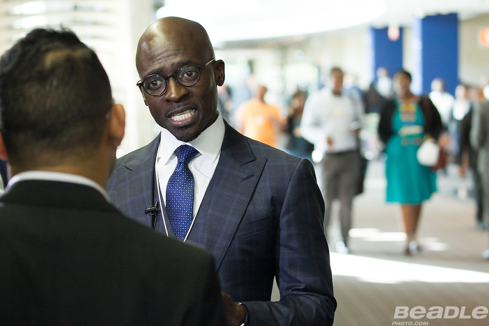 Malusi Gigaba, Minister of Finance<br /> Ministry of Finance of South Africa interviewed at the World Economic Forum on Africa 2017 in Durban, South Africa. Copyright by World Economic Forum / Greg Beadle