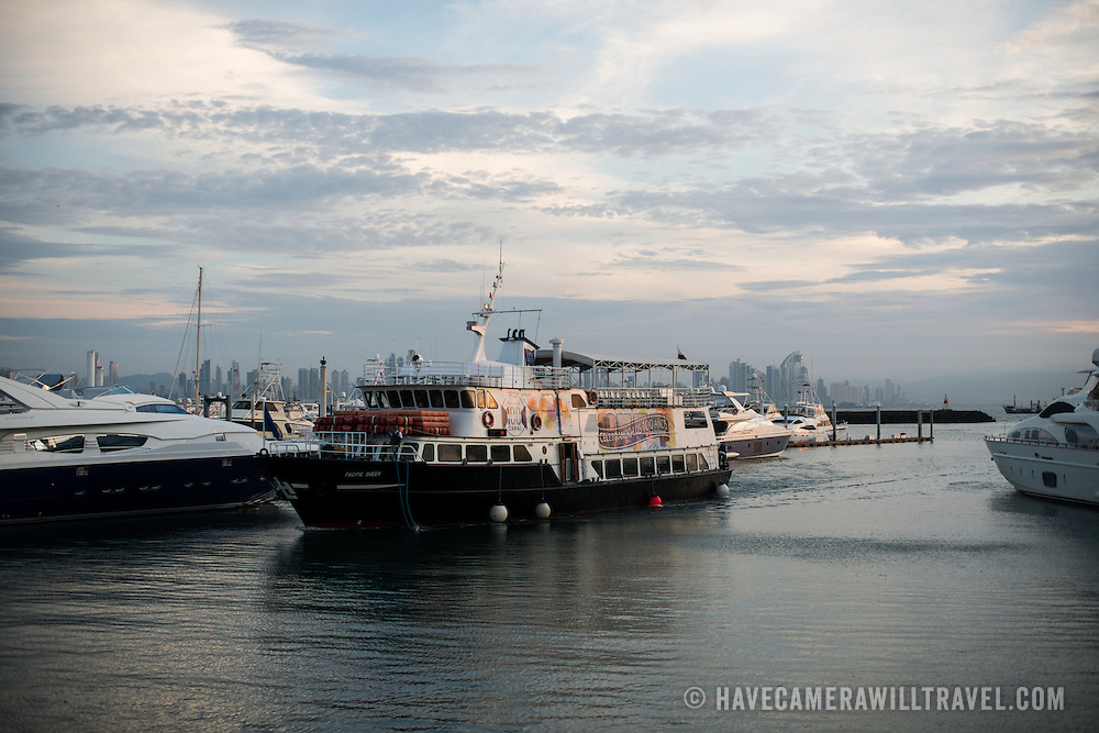 The Panama Queen, a tourist passenger vessel that makes trips up the Panama Canal, coming into dock at Flamenco Marina in Panama City.