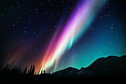 Aurora borealis illuminates the winter sky