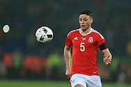 James Chester of Wales in action.Wales v Northern Ireland, International football friendly match at the Cardiff City Stadium in Cardiff, South Wales on Thursday 24th March 2016. The teams are preparing for this summer's Euro 2016 tournament.     pic by  Andrew Orchard, Andrew Orchard sports photography.