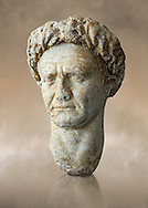Roman Portrait bust of Roman Emperor Vespasian, circa  69 to 79 AD excavated from Minturno. Vespasian was Roman Emperor from AD 69 to AD 79. Vespasian founded the Flavian dynasty that ruled the Empire for twenty seven years. Vespasian was from an equestrian family that rose into the senatorial rank under the Julio–Claudian emperors. The National Roman Museum, Rome, Italy .<br /> <br /> If you prefer to buy from our ALAMY PHOTO LIBRARY  Collection visit : https://www.alamy.com/portfolio/paul-williams-funkystock/roman-museum-rome-sculpture.html<br /> <br /> Visit our ROMAN ART & HISTORIC SITES PHOTO COLLECTIONS for more photos to download or buy as wall art prints https://funkystock.photoshelter.com/gallery-collection/The-Romans-Art-Artefacts-Antiquities-Historic-Sites-Pictures-Images/C0000r2uLJJo9_s0