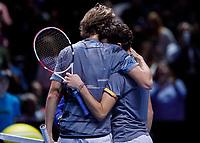 Tennis - 2019 Nitto ATP Finals at The O2 - Day Seven<br /> <br /> Semi Finals: Dominic Thiem (Austria) Vs. Alexander Zverev (Germany)<br /> <br /> Alexander Zverev (Germany) congratulates Dominic Thiem (Austria) after his victory <br /> <br /> COLORSPORT/DANIEL BEARHAM<br /> <br /> COLORSPORT/DANIEL BEARHAM