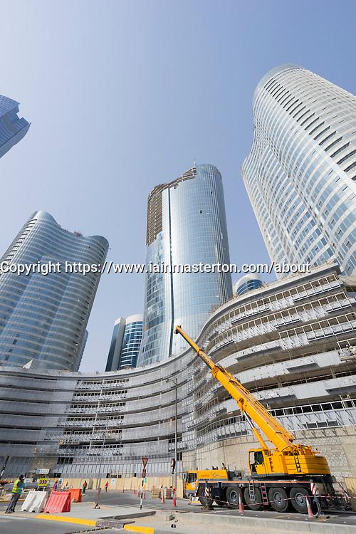 Construction of new high-rise buildings on Al Reem Island in Abu Dhabi United Arab emirates