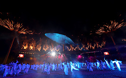 Performers and fireworks during the Opening Ceremony for the 2018 Commonwealth Games at the Carrara Stadium in the Gold Coast, Australia.