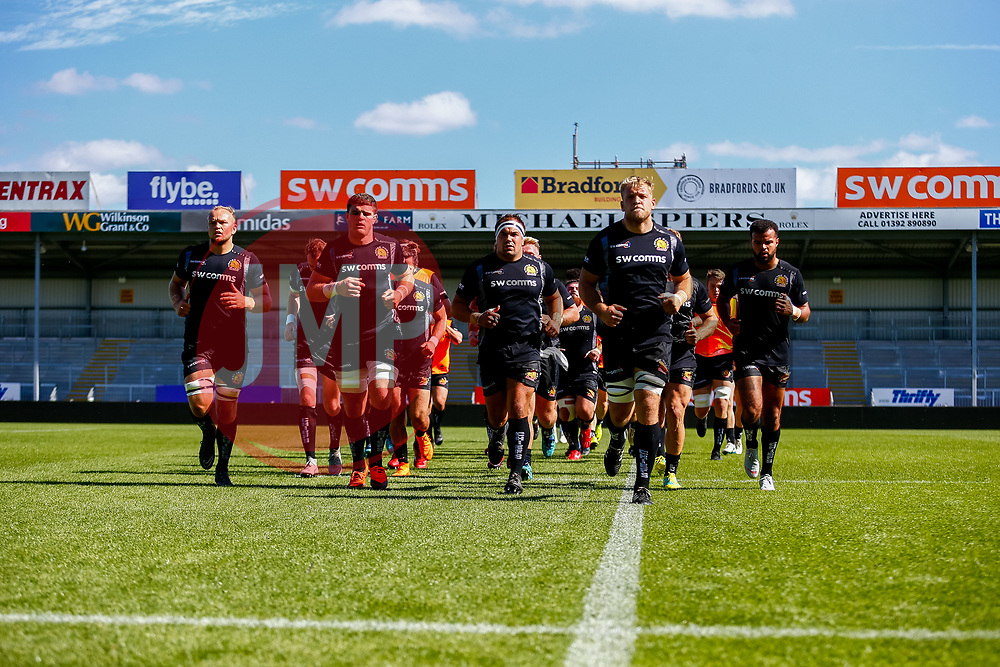 The Exeter Braves side leave the pitch before kick off  - Ryan Hiscott/JMP - 09/09/2018 - RUGBY - Sandy Park - Exeter, England - Exeter Braves v Bath United, Premiership Rugby Shield